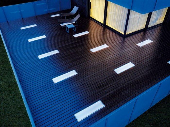 Outdoor lighting on wooden deck