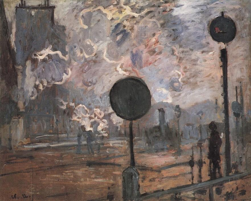 Outside the railway station Saint Lazare by Claude Monet