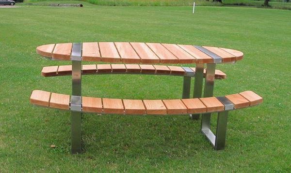 Oval picnic table - with benches