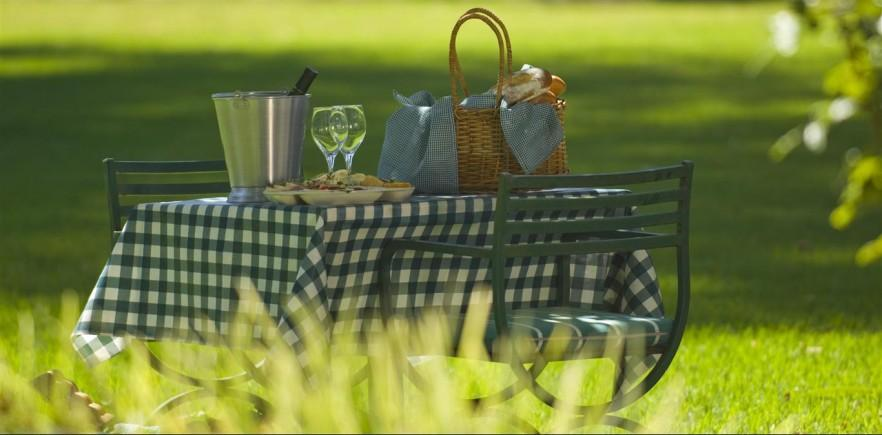 Picnic table for two - with striped cloth