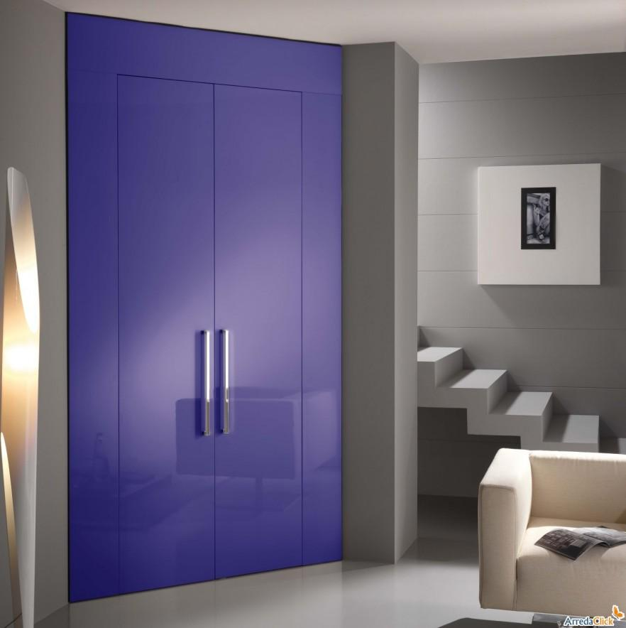 Purple fitted bedroom wardrobe - with two doors