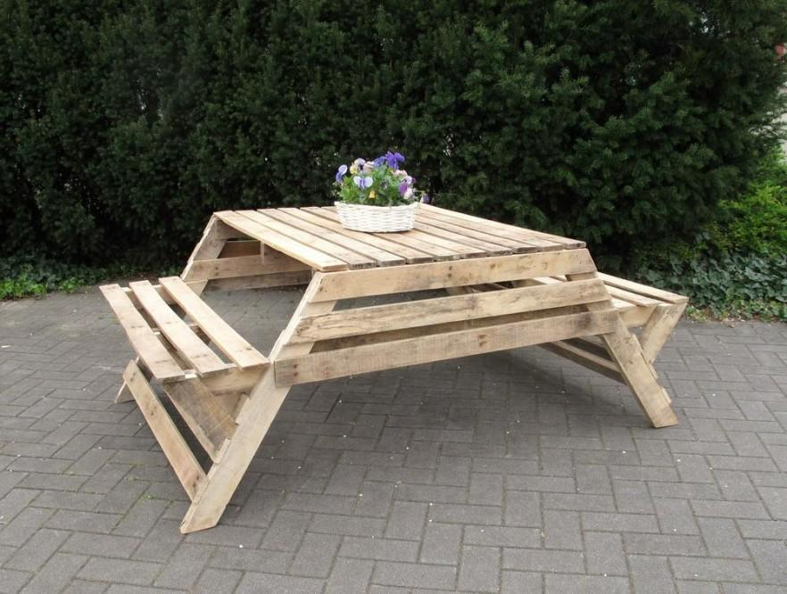 simple picnic table in natural wood color - Wood Picnic Table