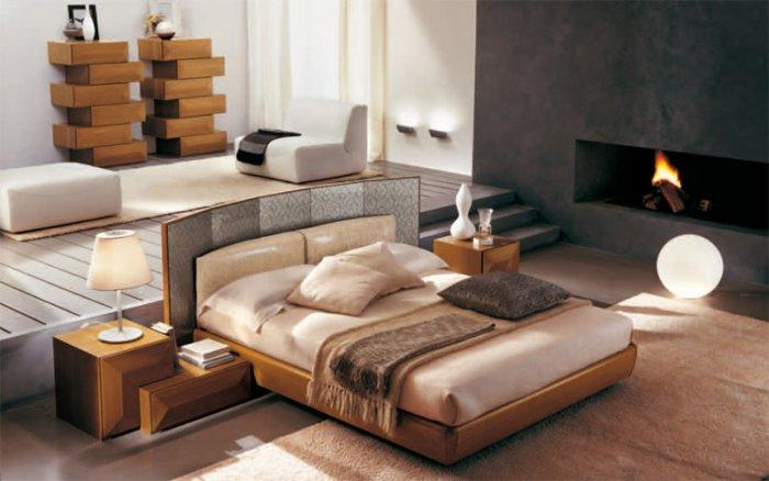 Small fitted bedroom - with modern furniture