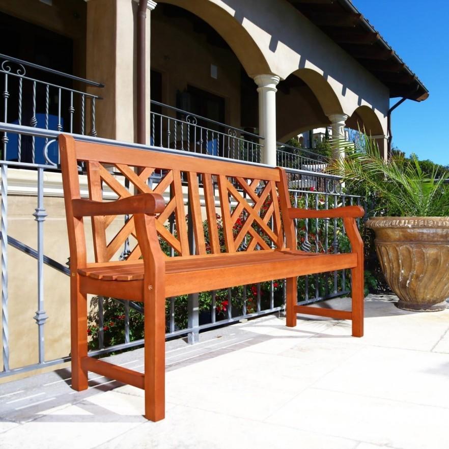 Teak outdoor bench - made of wood