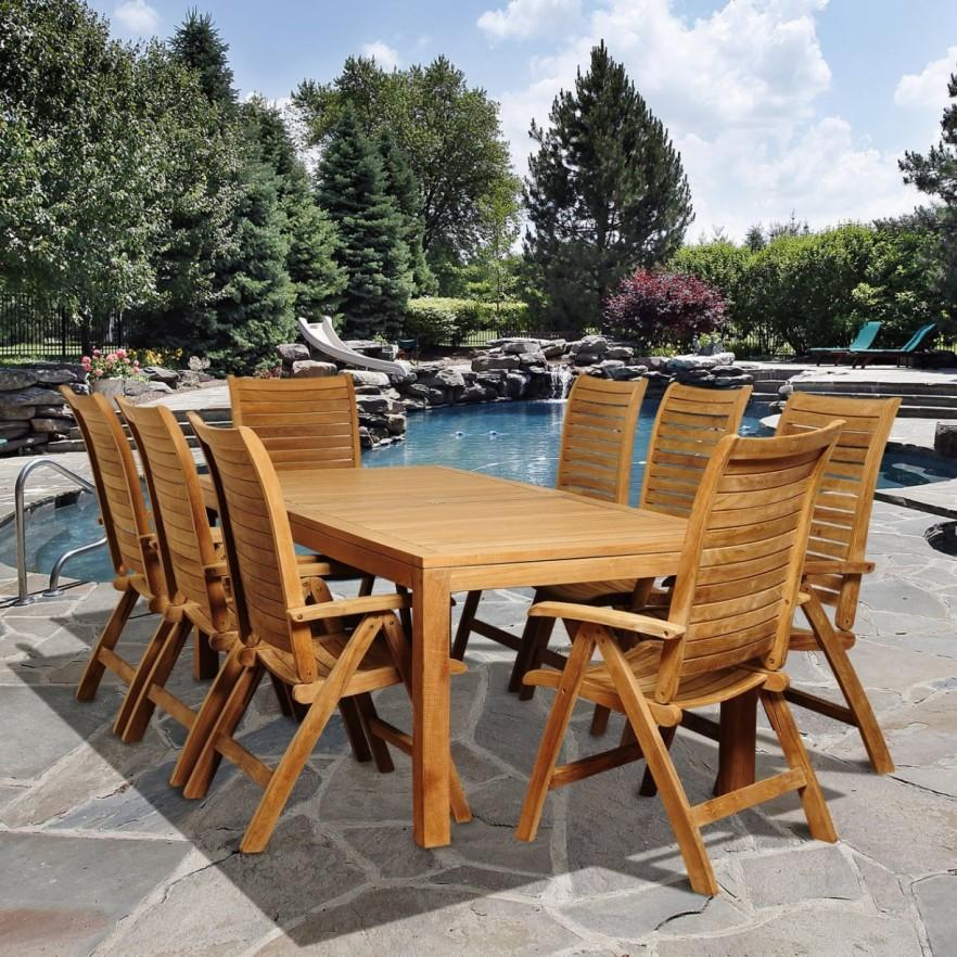 Teak outdoor dining set - with table and chairs