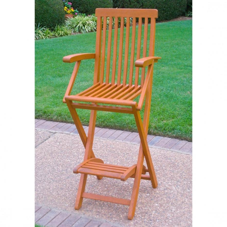 Teak outdoor folding chair - adjustable in heigth