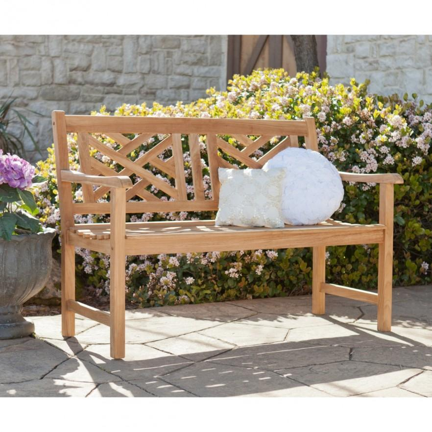 Teak patio bench - with pillow