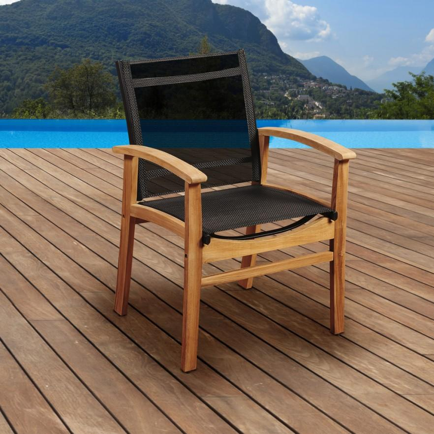 Teak patio chair - with black seat