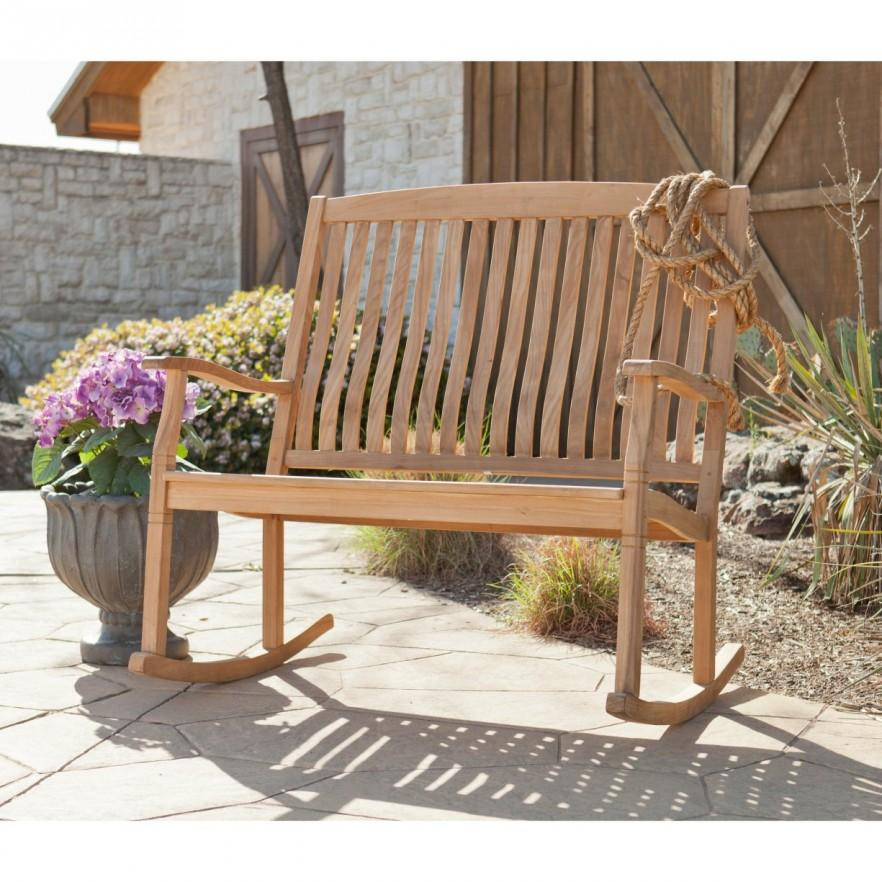 Teak patio rocking bench - for outdoor use