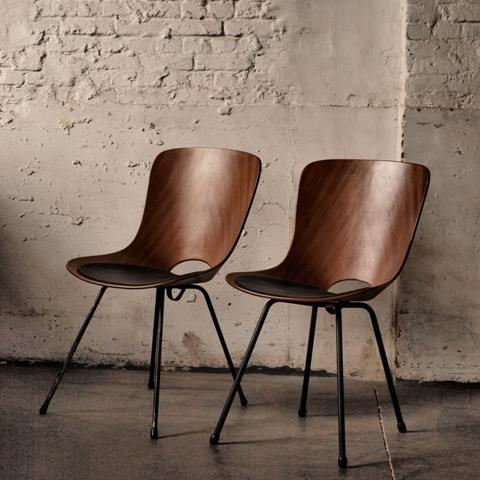 Wooden mid-century modern chairs