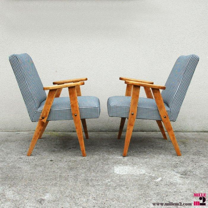 Vintage armchairs with wooden legs