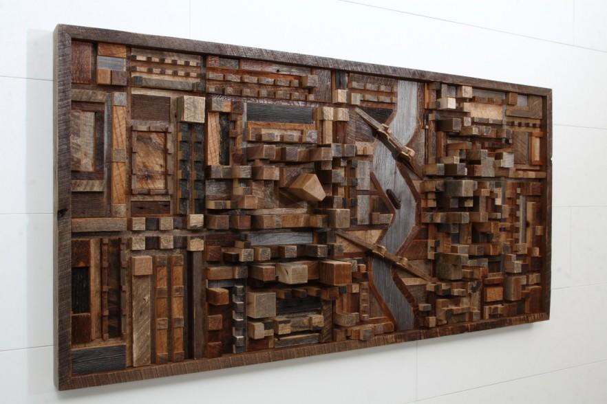 Wood contemporary wall art - a handmade board