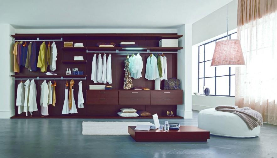 Wooden fitted bedroom wardrobe - with many sections