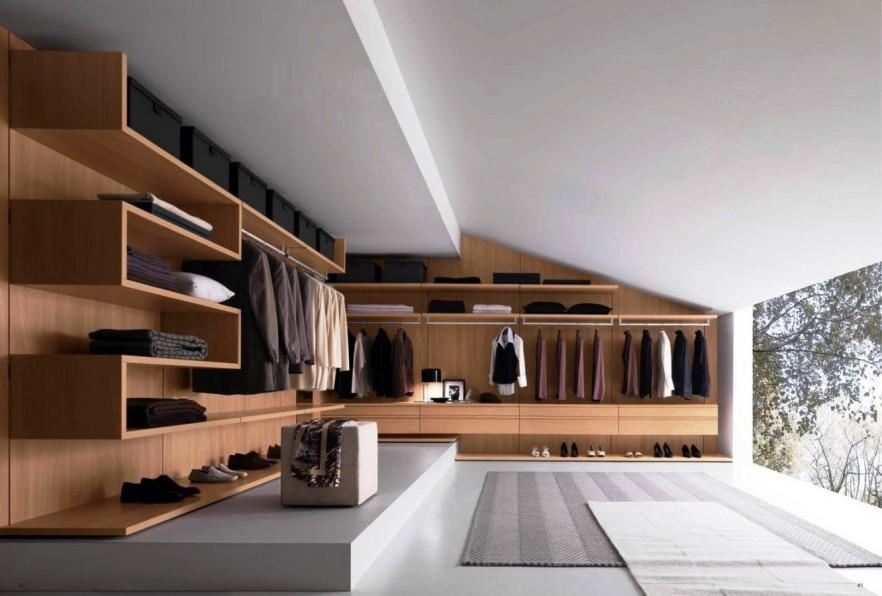 Wooden fitted wardrobe - in a walk-in closet