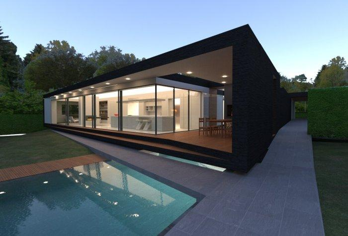 contemporary modern building residential house home visual swimminig pool