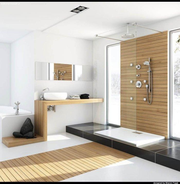 Modern-bathroom-with-unfinished-wood