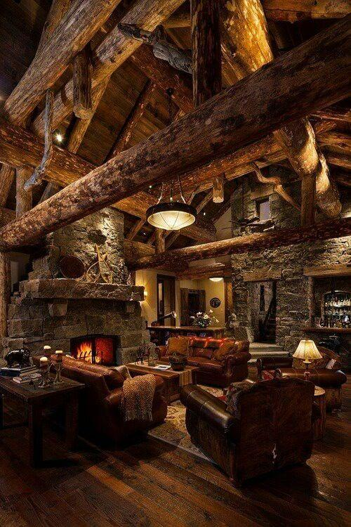 Good To know before building a log cabin: log cabin interior fireplace