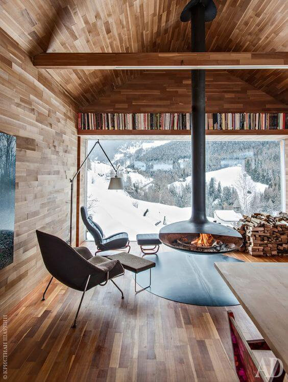 Good To Know Before Building A Log Cabin: Contemporary Log Cabin Interior  Fireplace