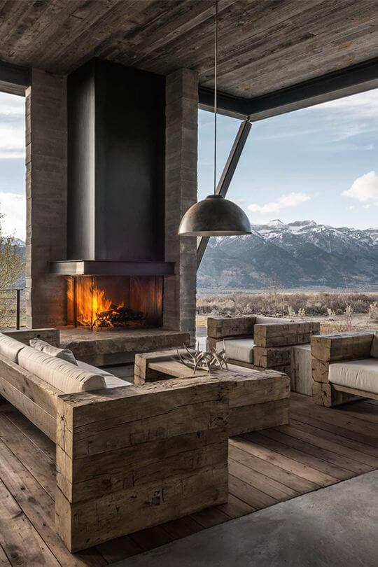Good To know before building a log cabin: log cabin contemporary fireplace