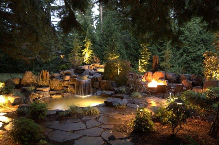 winter garden ideas firepit robin winter sence, winter garden lighting