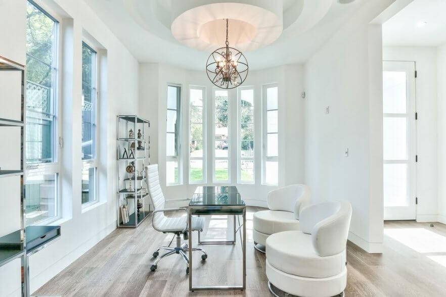 Modern Home Office With Globe Chandelier I_g Is5ab59n9xf7p31000000000