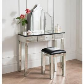 Furniture direct 365 Chic Bedroom Dressing Table With Venetian Etched Mirror By Homes Direct 365 Faacusaco Mirrored Bedroom Furniture Founterior