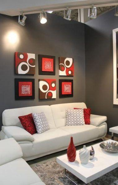 Adding a Bit of Red - Modern Apartment Living Room Ideas