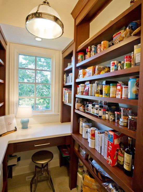 Add a Desk and Seating Space - Small Pantry Organization