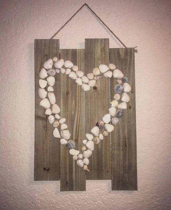 Shells on Wood - DIY Wall Decor Ideas