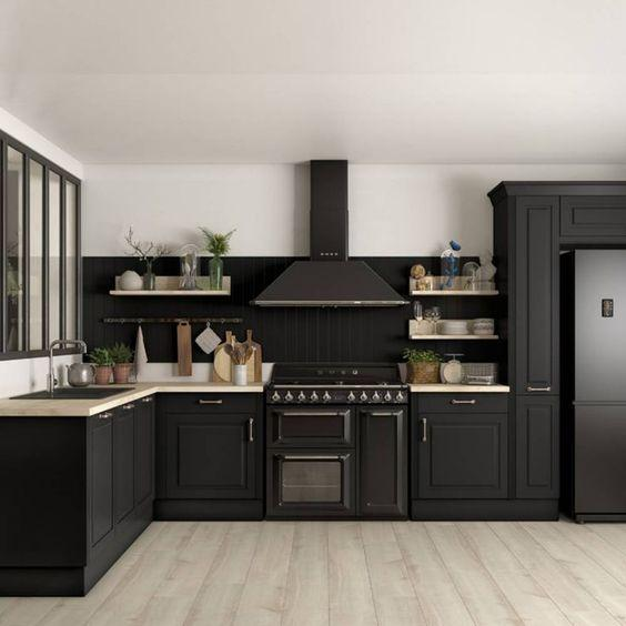 A Set of Black Cabinets - Kitchen Cabinet Design Ideas