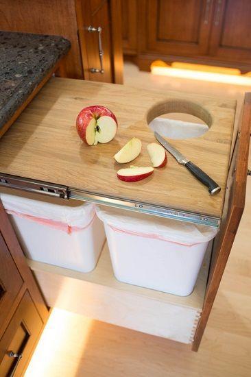 Chopping Board with a Hole - Bins Underneath