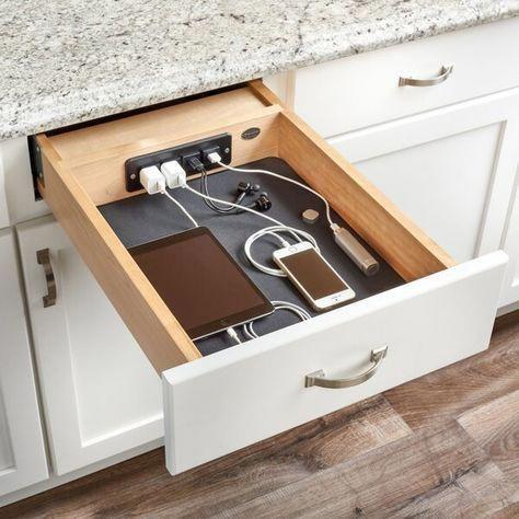 Charging Your Phone - Kitchen Cabinet Organization Ideas