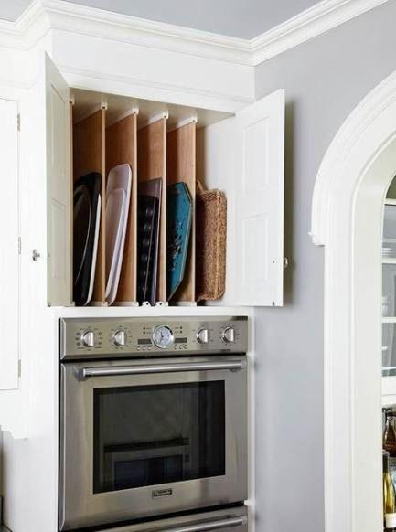 A Tray Holder - Kitchen Cabinet Storage Ideas