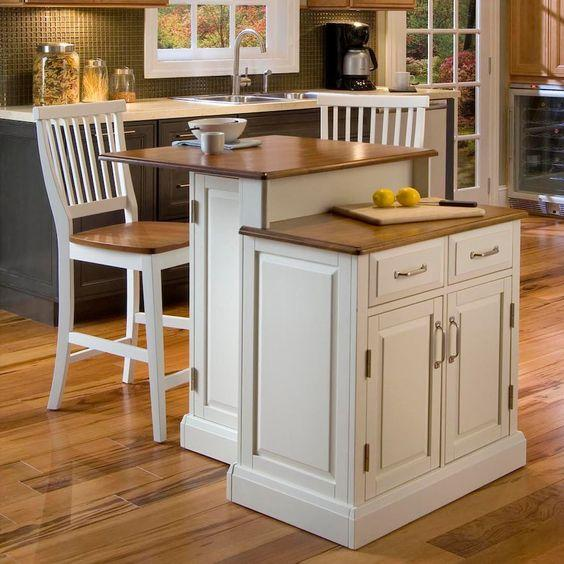 Two Tiers - Small Kitchen Island with Seating