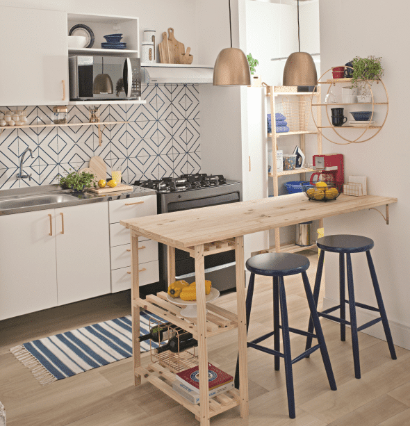 Attached to the Wall - Small Kitchen Island Ideas with Seating