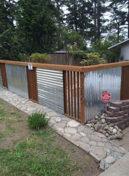 Corrugated Metal – Very Cheap Garden Fence Ideas