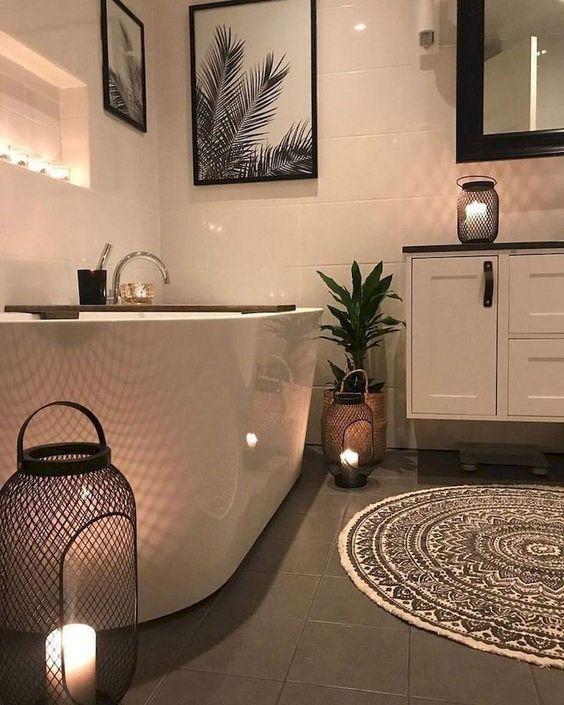 Candles in Lanterns – Simple Bathroom Ideas