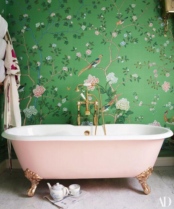 A Floral Wallpaper - Simple Bathroom Ideas