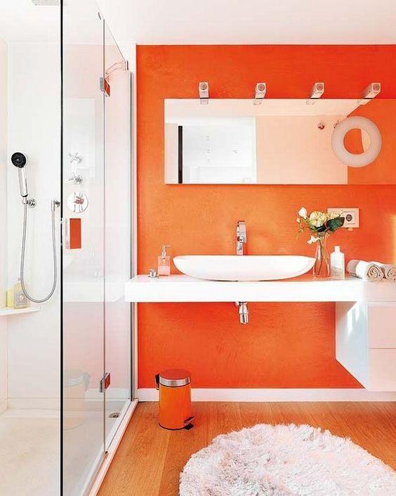 A Vibrant Orange - Simple Bathroom Ideas