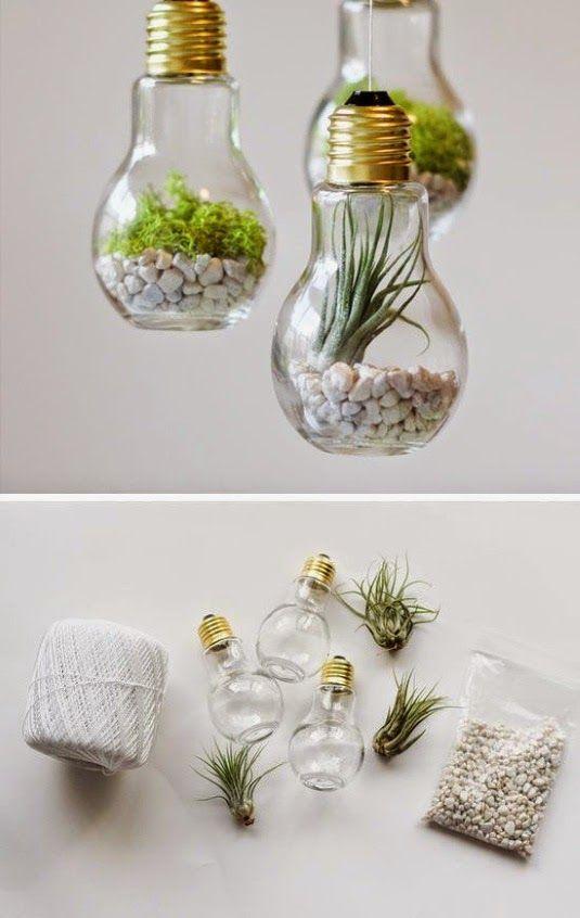 Terrariums from Light Bulbs - Summer Decorating Ideas