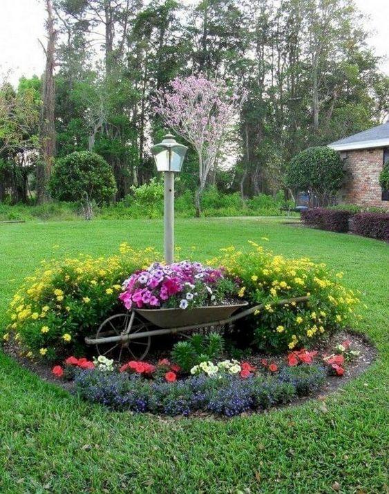 A Wheelbarrow - Front Yard Landscaping Ideas on a Budget
