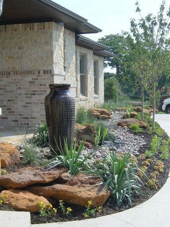 Exotic Vases - Front Yard Landscaping Ideas