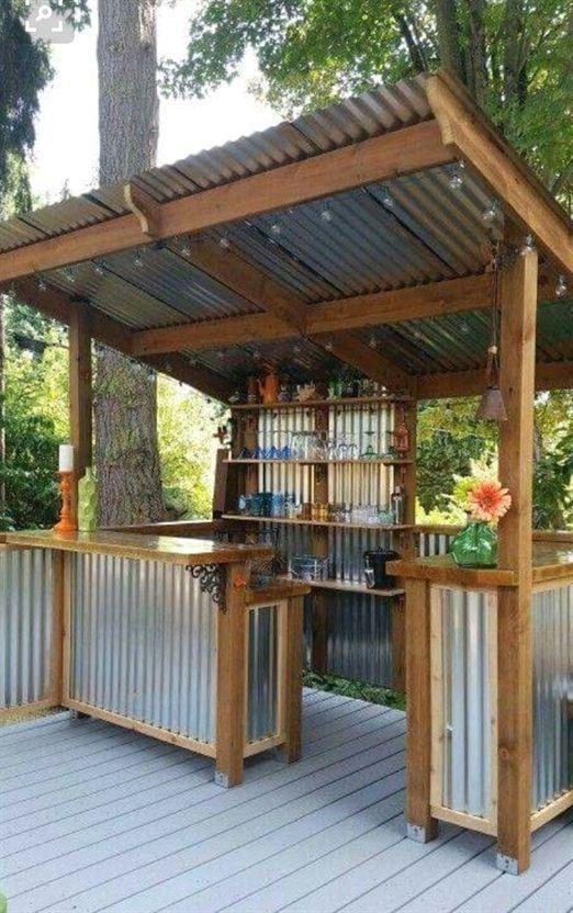 Corrugated Tin Design - Outdoor Kitchen Cabinets