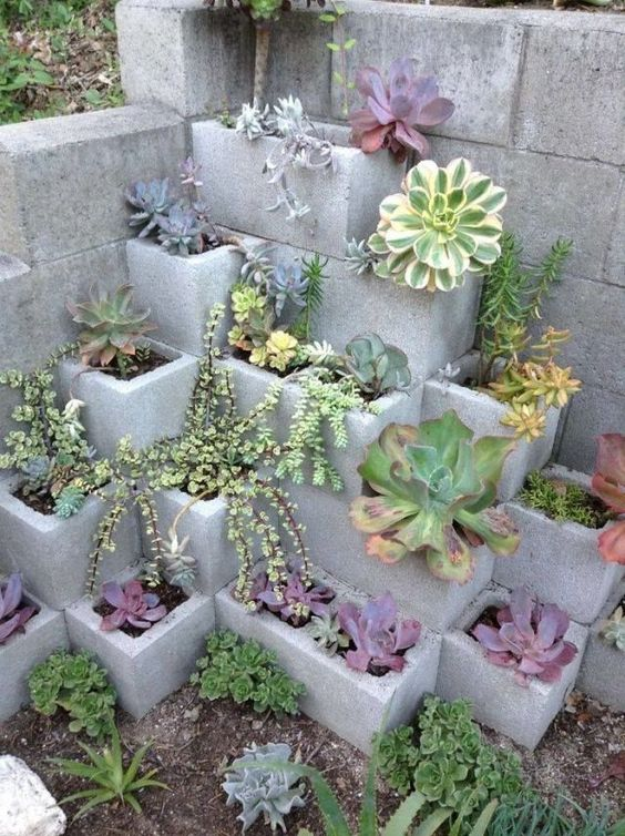 Piling Cinder Blocks - Flower Containers