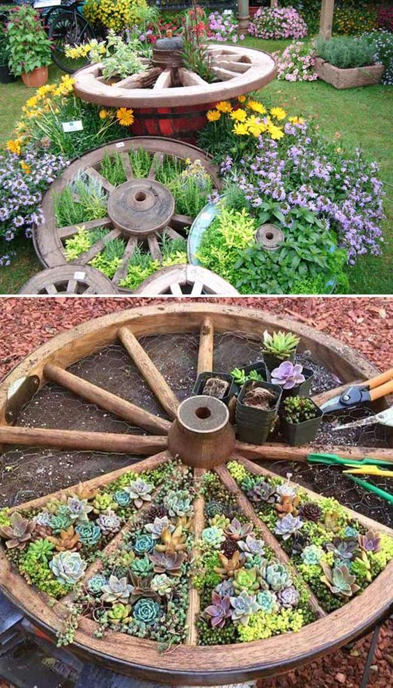 An Old Wheel – Great Garden Bed Ideas