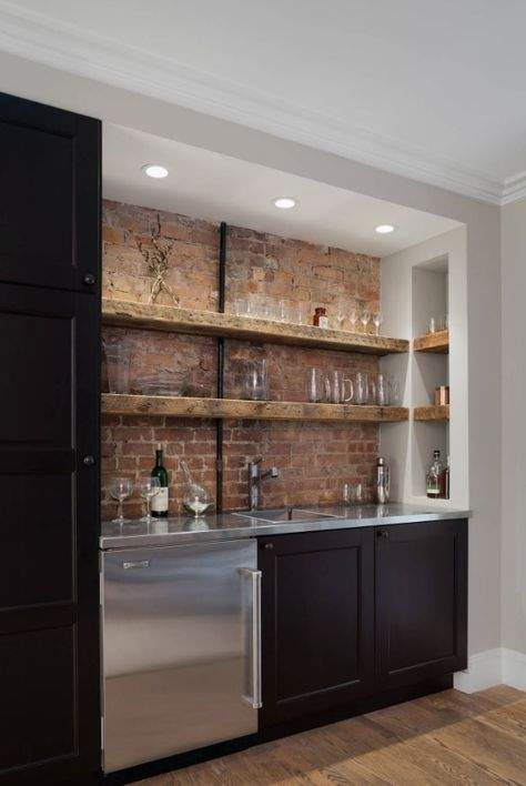 Black Cabinets and Bricks - Stylish and Homely