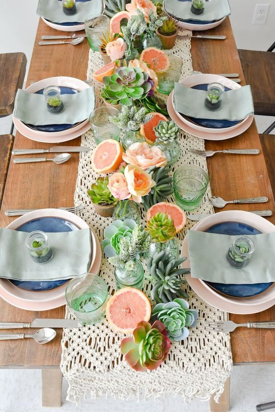 Succulents and Grapefruit - Summer Table Centrepieces
