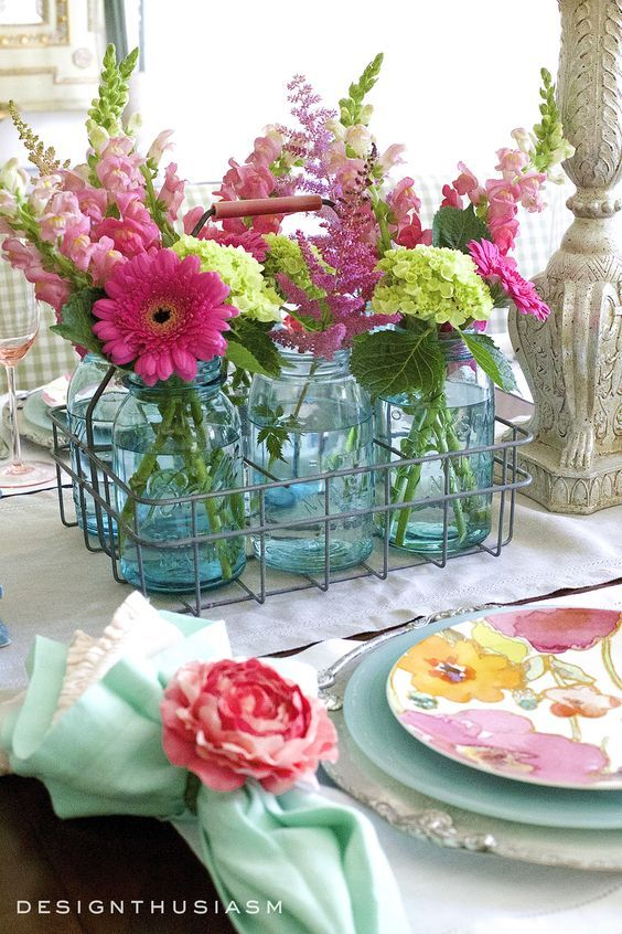 A Basket of Flowers - Summer Table Centrepieces