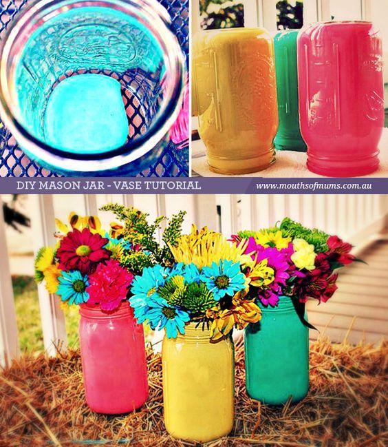 Painted Mason Jars - Colourful and Vibrant