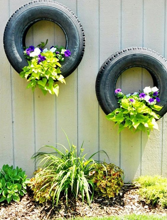 Tire Wall Planters - Garden Decoration Ideas for Summer